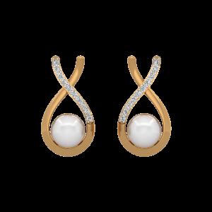 The Slide Gold Diamond & Pearl Earring