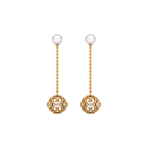 Swirls & Orbits Gold Diamond & Pearl Earring