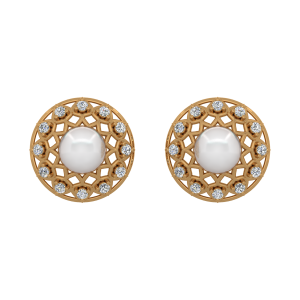 The Snowy Balls Gold Diamond & Pearl Earring