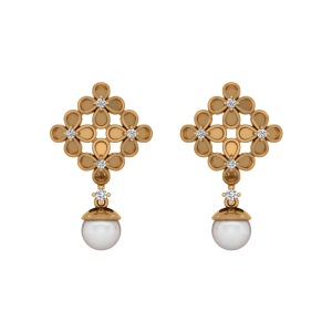 The Nacre Jewel Gold Diamond & Pearl Earring