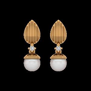 Maverick Pick Gold Diamond & Pearl Earring