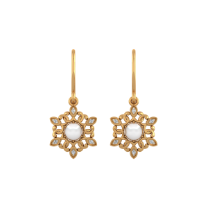 The Snowflakes Gold Diamond & Pearl Earring