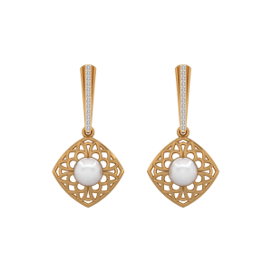 The Enticing Pearls Gold Diamond & Pearl Earring