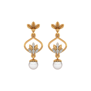 Kiss of Pearls Gold Diamond & Pearl Earring