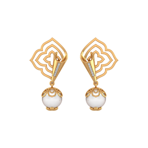 The Floral Folds Gold Diamond & Pearl Earring