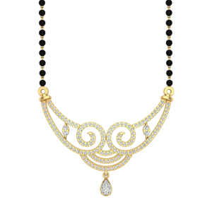 The Paradise Mangalsutra With Black Beads Gold Chain