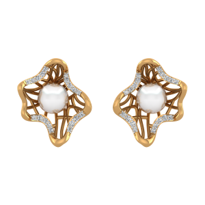 The Pearl Pockets Gold Diamond & Pearl Earring