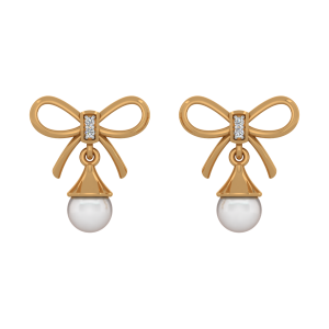 Bright Bows Gold Diamond & Pearl Earring