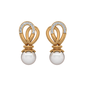 The Flying Pearls Gold Diamond & Pearl Earring