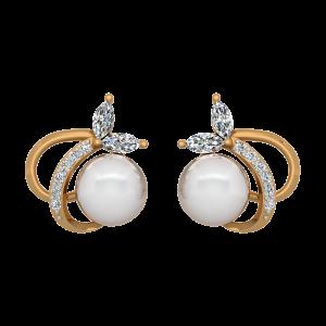 The Pearl Trajectory Gold Diamond & Pearl Earring