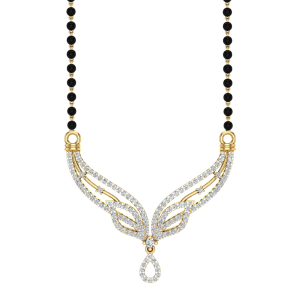 The Heavenly Mangalsutra With Black Beads Gold Chain