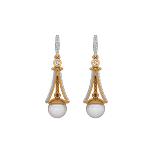 Eccentric Pearls Gold Diamond & Pearl Earring