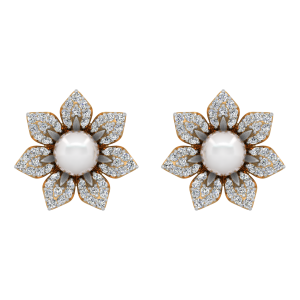 The Real Bloom Gold Diamond & Pearl Earring