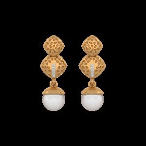 Dots N Dangle Gold Diamond & Pearl Earring