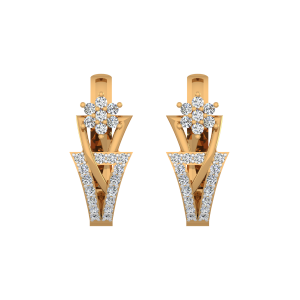 Floral Delights Gold Diamond Earrings