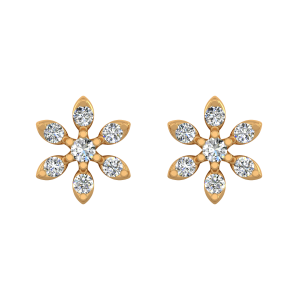 Starry Hues Gold Diamond Floral Earrings