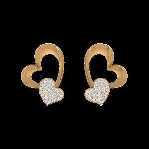 Hearts Fallout Gold Diamond Heart Earrings