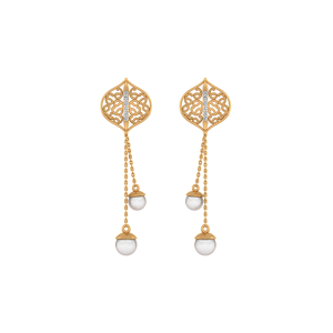 Links N Likes Gold Diamond Danglers Earrings