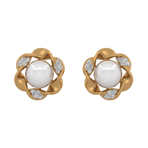 Mode N Mood Gold Diamond & Pearl Earrings