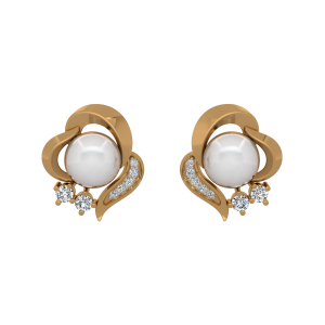 The Pearl Leisure Gold Diamond & Pearl Earrings