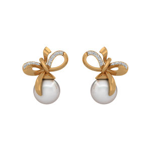 The Art Of Knot Gold Diamond & Pearl Earrings