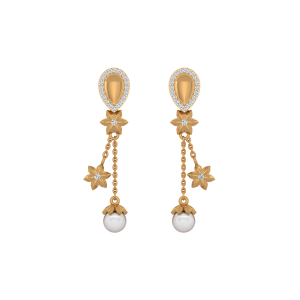 The Blossomy Pearl Gold Diamond & Pearl Earrings