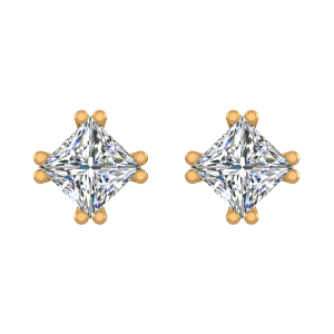 The Cushy Cushions Gold Diamond Solitaire Earrings