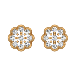 Joy Loops Gold Diamond Floral Earrings
