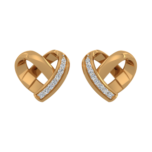 The Posh Heart Gold Diamond Heart Earrings