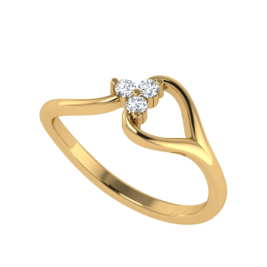 Swirl Three Stone Diamond Ring
