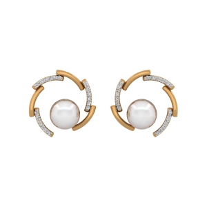 The Linear Play Gold Diamond & Pearl Earrings