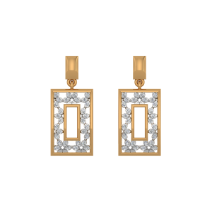 The Famous Frame Gold Diamond Earrings