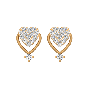 Dots N Hearts Gold Diamond Earrings