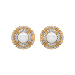 The Pearl Whirl Gold Diamond & Pearl Earrings