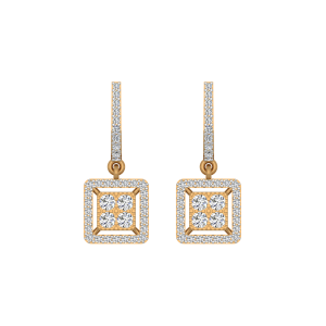 The Square Suave Gold Diamond Earrings