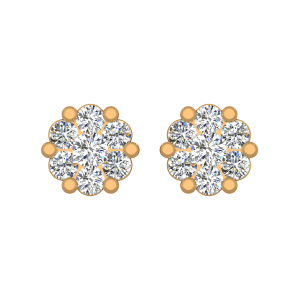 The White Petals Gold Diamond Stud Earrings