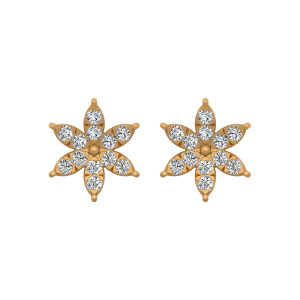 The Dazzle Up Gold Diamond Floral Earrings