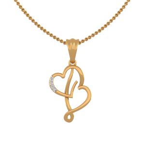 Letter B Heart Diamond Pendant