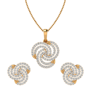Trip Le Whirl Diamond Pendant Set