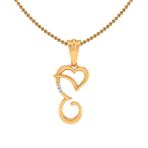 Letter E Heart Diamond Pendant