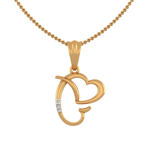 Letter G Heart Diamond Pendant