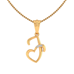 Letter J Heart Diamond Pendant