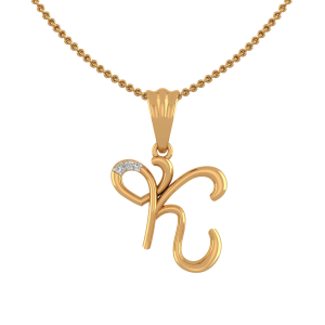 Letter K Heart Diamond Pendant