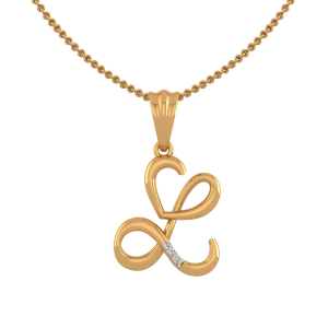 Letter L Heart Diamond Pendant