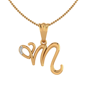 Letter M Heart Diamond Pendant
