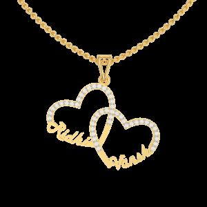 Hearts Couple Name Personalized Gold Diamond Pendant