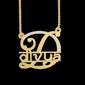 Divya Name Personalized Gold Diamond Pendant