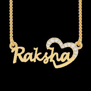 Raksha Name Personalized Gold Diamond Pendant