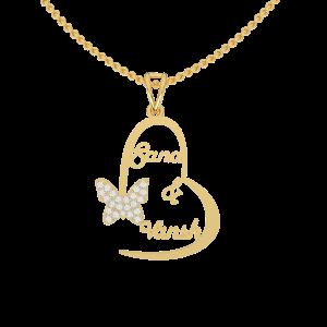 Best Couple Heart Name Gold Diamond Pendant
