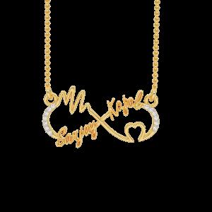 Infinity Best Couple Name Gold Diamond Pendant